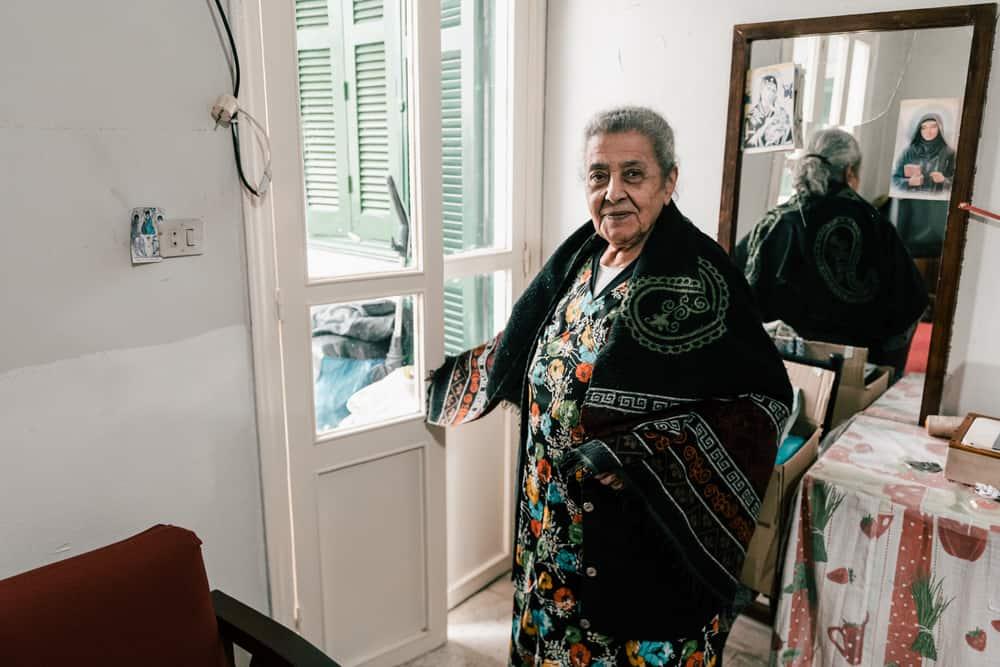 Thérèse is 85 years old. This Lebanese former tailor lives in Karantina, a neighbourhood located near Beirut's port. Lebanon, December 2020. © KARINE PIERRE/HANS LUCASINSTAGRAM: @PICS_STONE